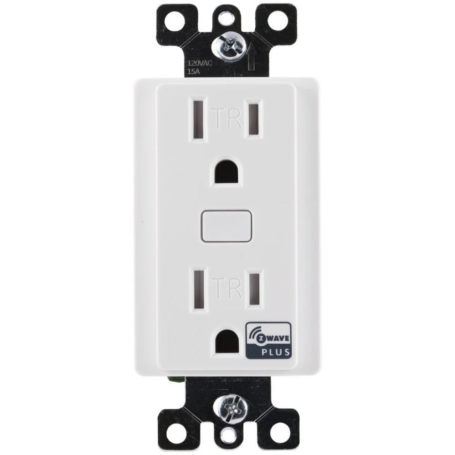 GE Z-Wave Plus 15-Amp 120-Volt Wireless White Recessed Indoor Decorator Wall Tamper Resistant Outlet