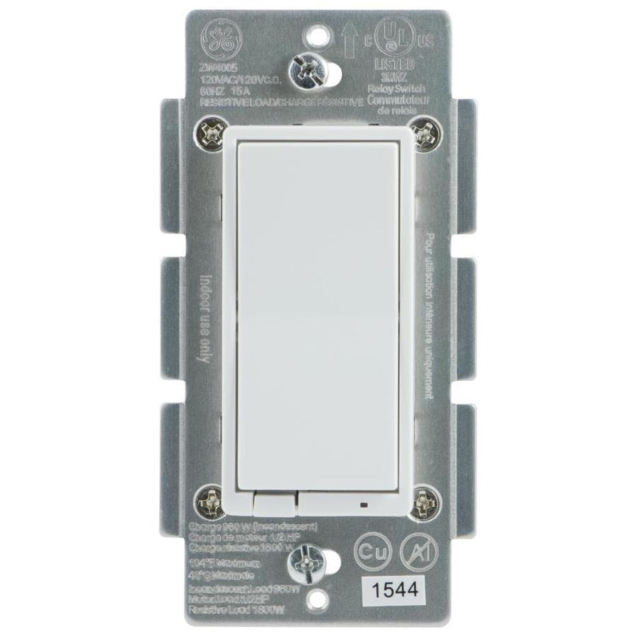 Shop Light Switches At Add A From Switched Receptacle Ge Z Wave Plus 15 Amp 3 Way White Almond Rocker