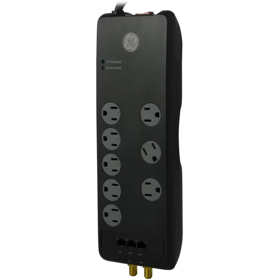GE 8-Outlet 3,000 Joules Home Entertainment Surge Protector (Auto-Off Safety)