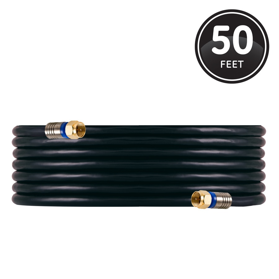 GE Pro Quad Shield 50-ft 18 Awg Rg6 Black Coax Cable Coil