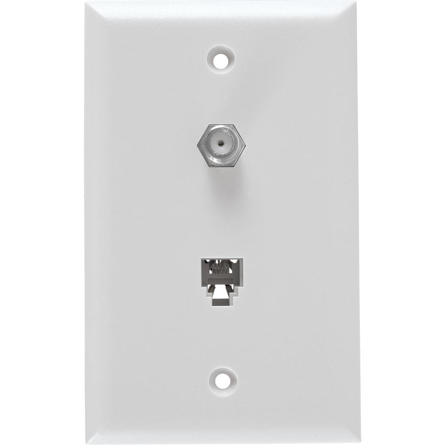 GE Plastic F-type Coax/Telephone Wall Jack