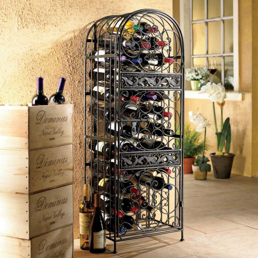Wine Enthusiast Renaissance Wrought Iron Jail Bronze Metal Sideboard With Wine Storage