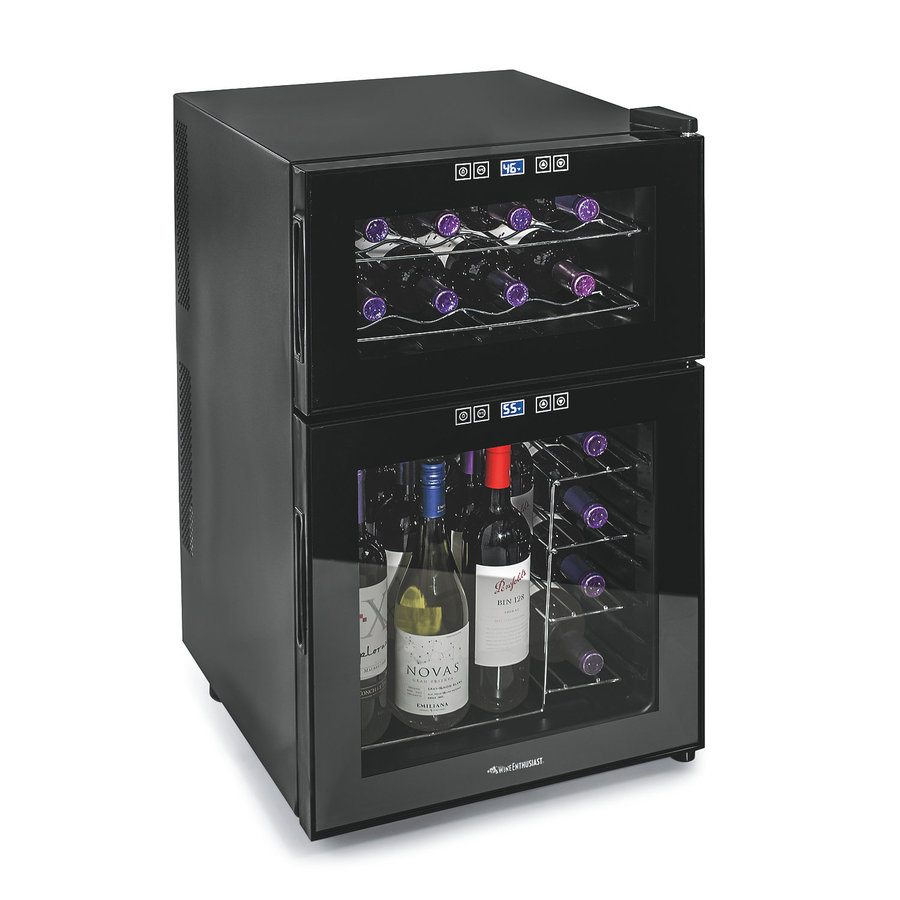 Wine Enthusiast 24-Bottle Black Dual Zone Wine Chiller
