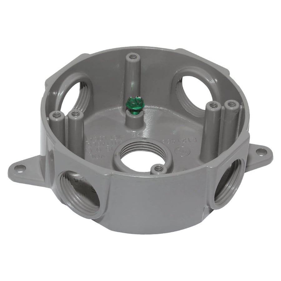 Gampak Gray Metal Weatherproof Exterior/Interior New Work Standard Round Interior/Exterior Electrical Box