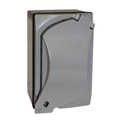 Weatherproof Receptacle Kit 1-Gang Gray Metal Weatherproof New Work on standard 220 volt outlet, usb wall outlet, cable tv outlet, installing wall outlet, usb plug outlet, 240 volt outlet, installing outlet box, installing recessed tv outlet, installing outlet in vehicles, installing electrical outlets,