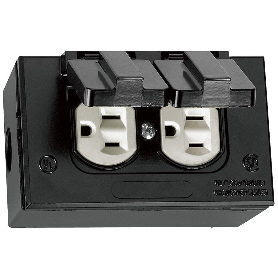 Gampak Metallic Black 1 Outlet Weatherproof Electrical