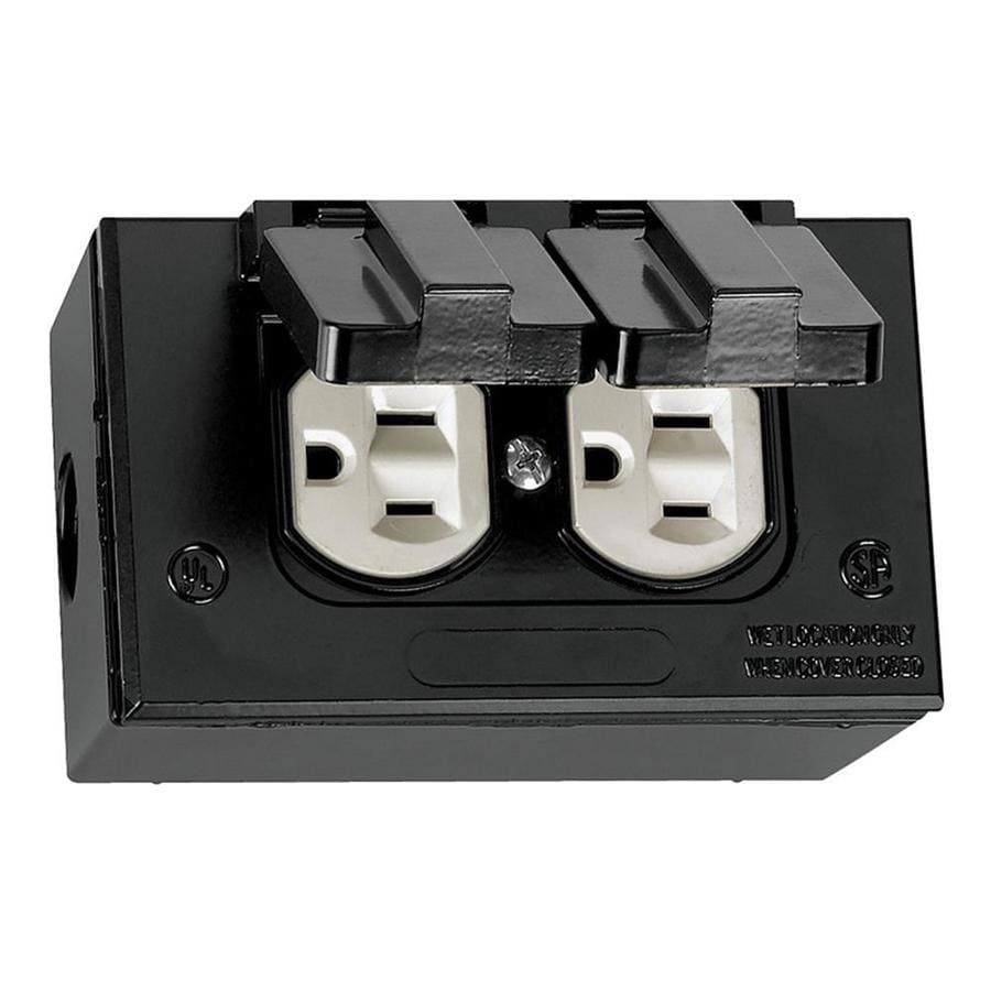 Shop gampak 1 gang black metal weatherproof exterior interior new work standard rectangular for Exterior electrical outlet box