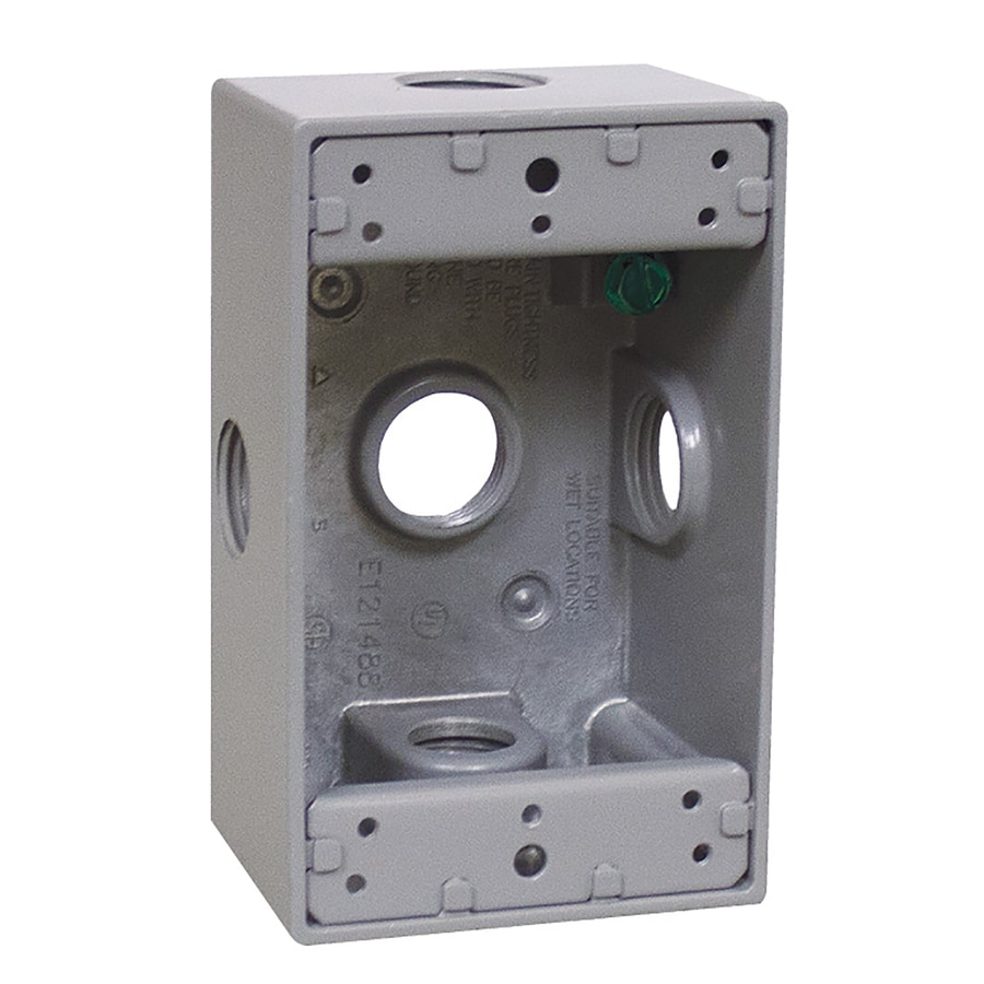 Gampak 1-Gang Gray Metal Weatherproof Exterior/Interior New Work Standard Rectangular Interior/Exterior Electrical Box