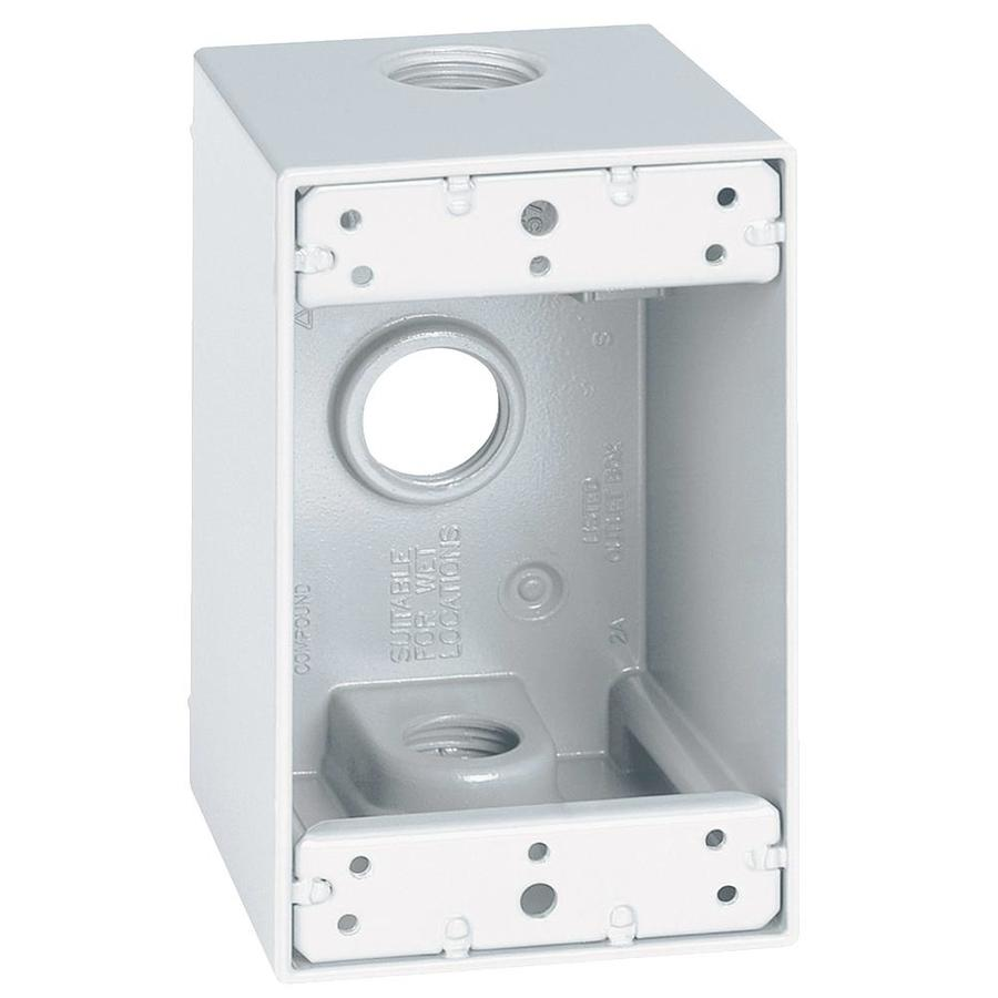 "Weatherproof 1-Gang Box w// Three 1//2/"" Holes WHITE Metal Outdoor 1 pc"