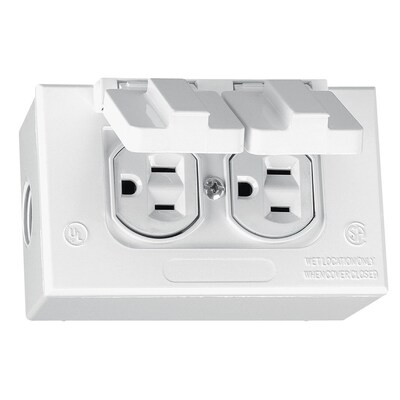 Metallic White 1 Outlet Weatherproof Electrical Cover