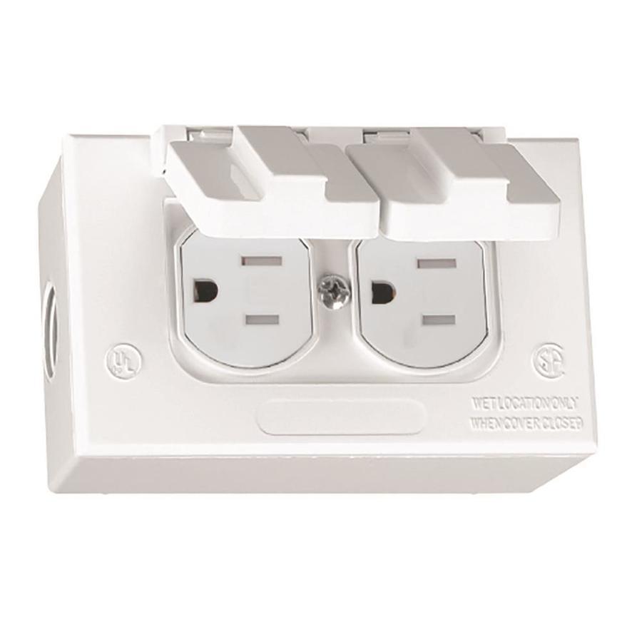 Gampak 1-Gang White Metal Weatherproof Exterior/Interior New Work Standard Rectangular Interior/Exterior Electrical Box