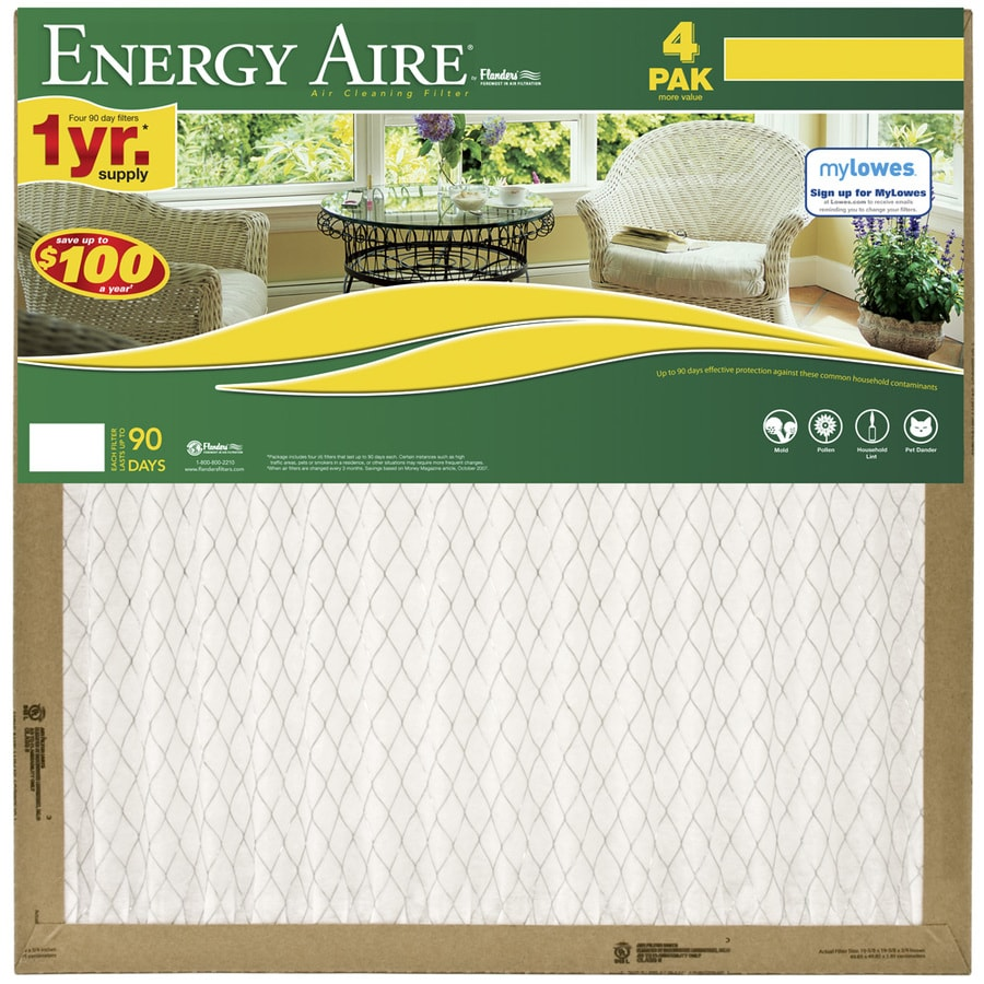 Energy Aire 4-Pack 20-in x 36-in x 1-in Pleated Air Filters