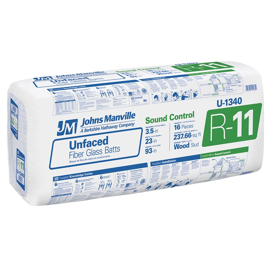 Johns Manville R11 237.66-sq ft Unfaced Fiberglass Batt Insulation with Sound Barrier (23-in W x 93-in L)