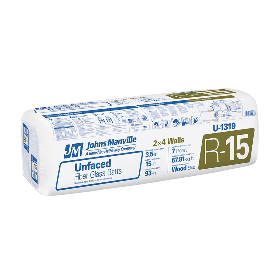 Johns Manville R15 67.81-sq ft Unfaced Fiberglass Batt Insulation with Sound Barrier (15-in W x 93-in L)