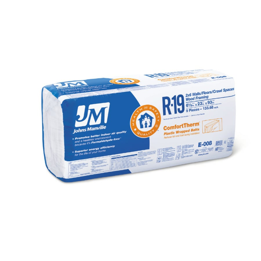 Johns Manville ComfortTherm R19 133.68-sq ft Faced Fiberglass Batt Insulation with Sound Barrier (23-in W x 93-in L)