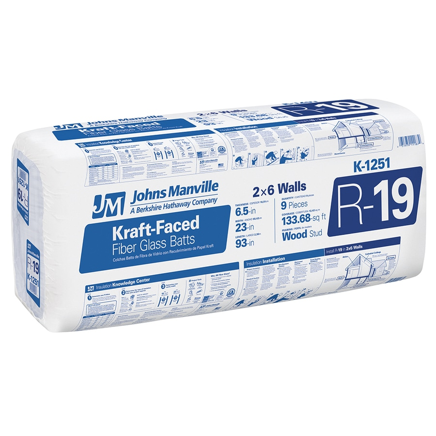 Johns Manville R 19 133.68-sq ft Faced Fiberglass Batt Insulation with Sound Barrier (23-in W x 93-in L)