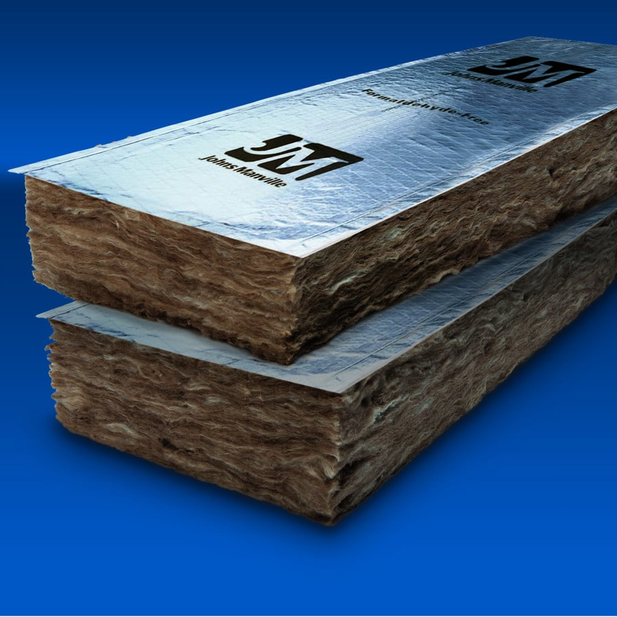 Shop johns manville r19 144 sq ft faced fiberglass batt for Sound fiberglass insulation