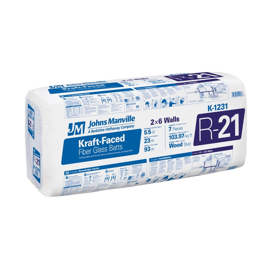 Johns Manville R 21 103.97-sq ft Faced Fiberglass Batt Insulation with Sound Barrier (23-in W x 93-in L)