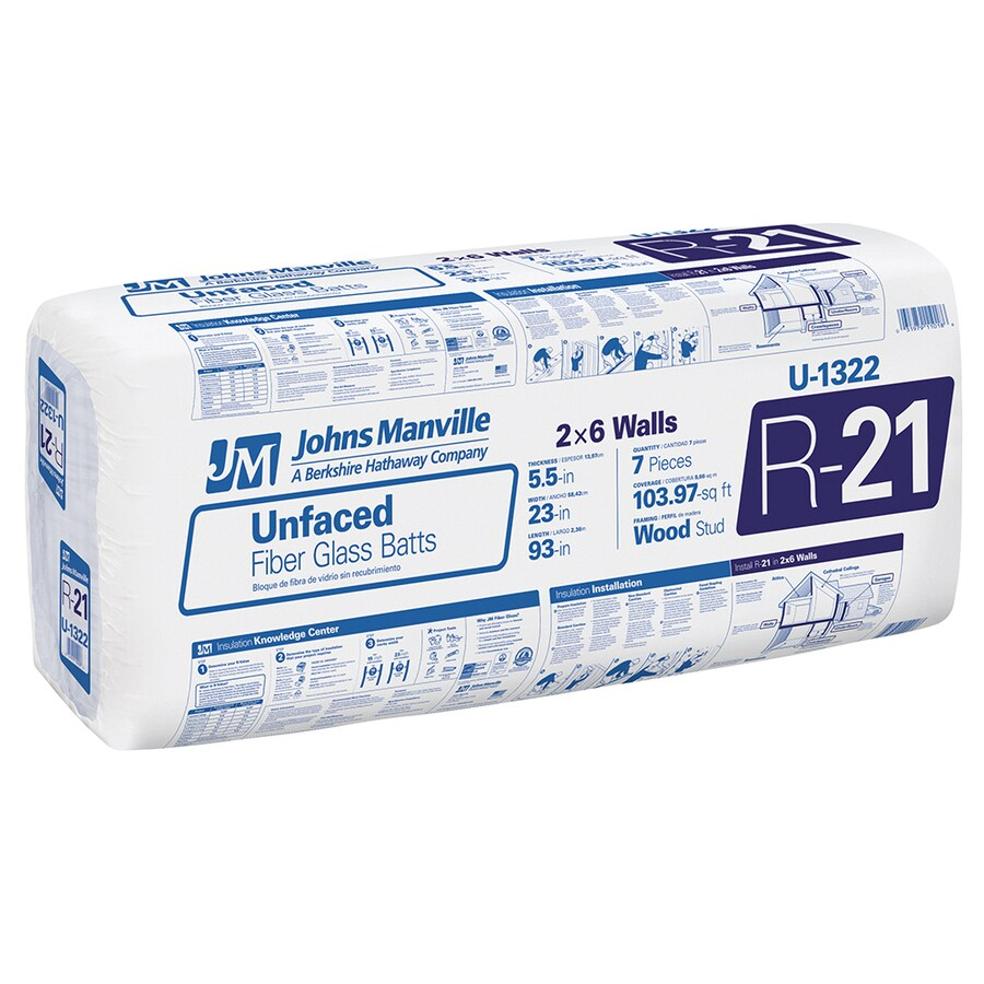 Johns Manville R21 103.97-sq ft Unfaced Fiberglass Batt Insulation with Sound Barrier (23-in W x 93-in L)