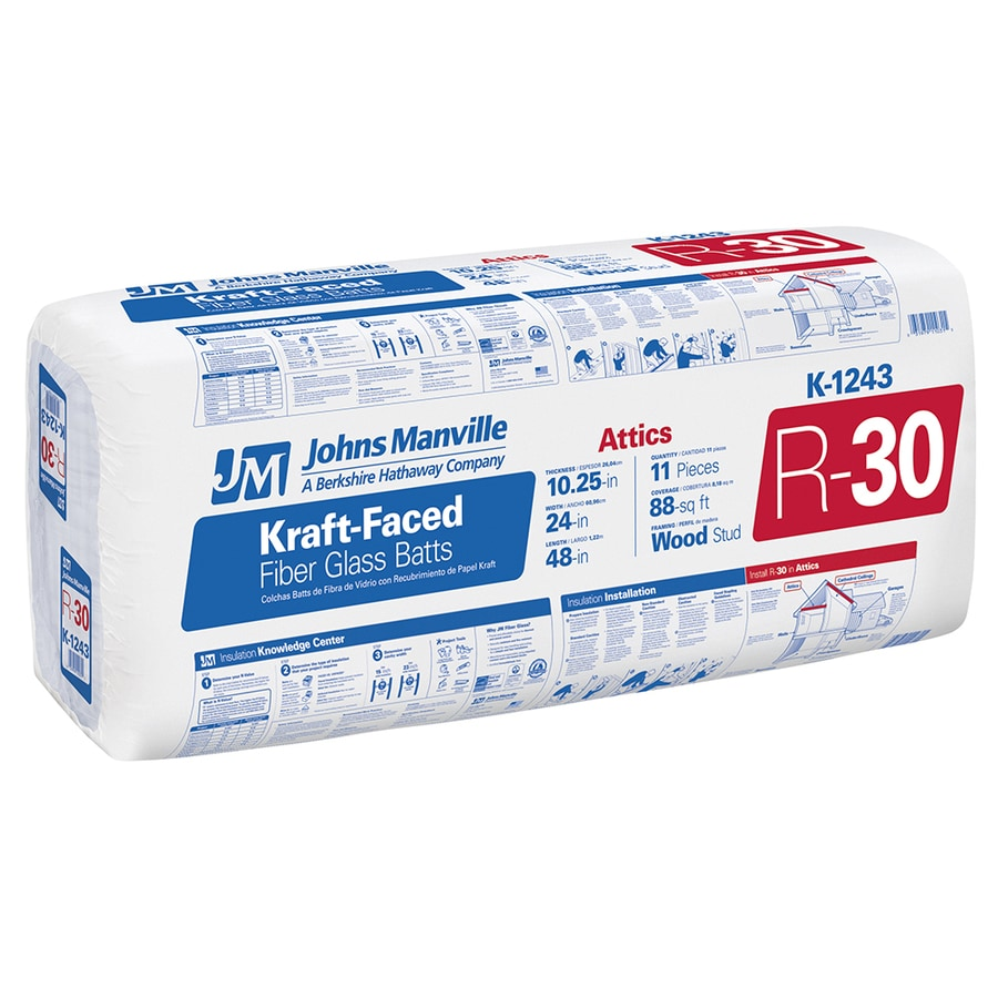 Shop johns manville r 30 88 sq ft faced fiberglass batt for Sound fiberglass insulation