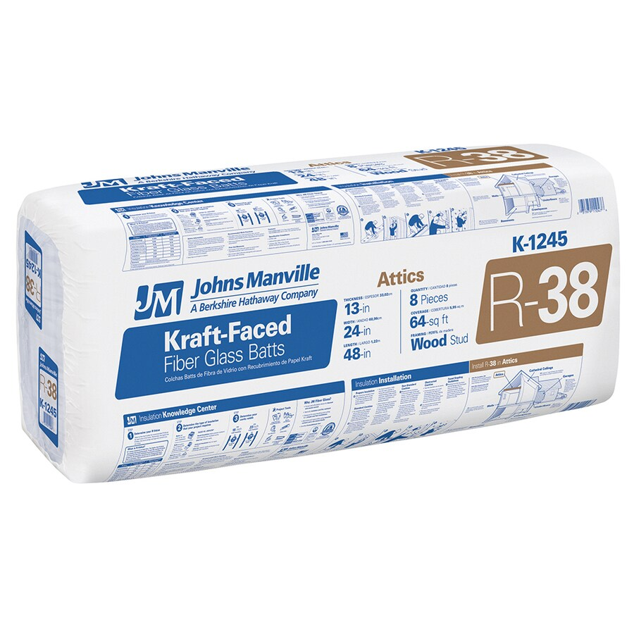 Johns Manville R38 64-sq ft Faced Fiberglass Batt Insulation with Sound Barrier (24-in W x 48-in L)