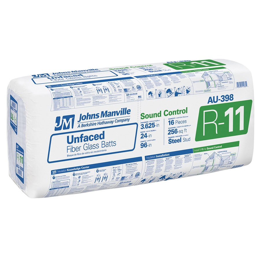 Johns Manville R11 256-sq ft Unfaced Fiberglass Batt Insulation with Sound Barrier (24-in W x 96-in L)