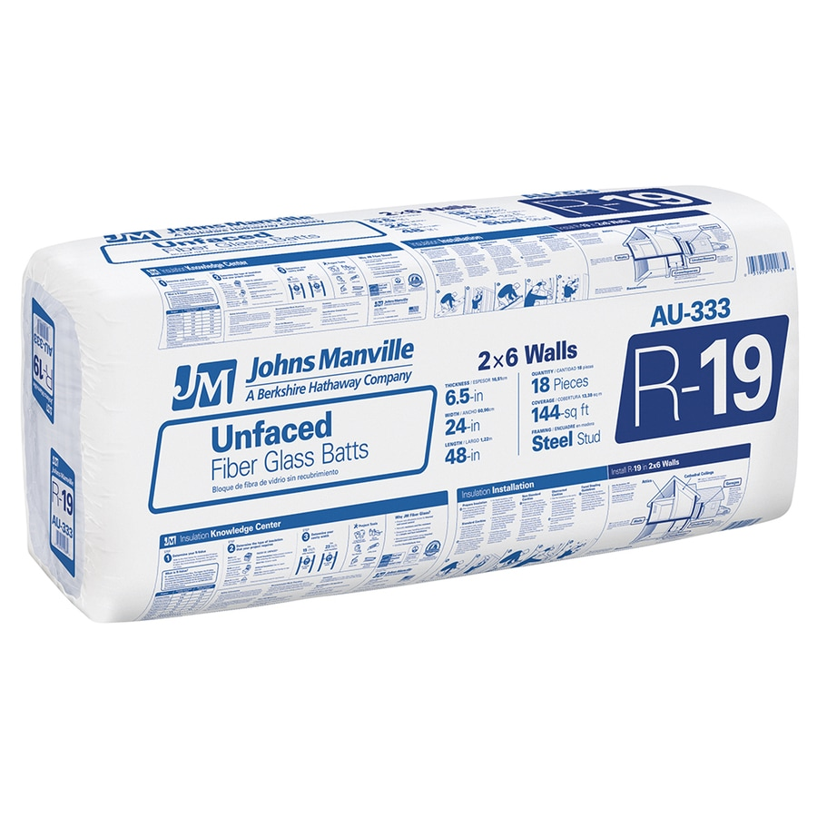Johns Manville R19 144-sq ft Unfaced Fiberglass Batt Insulation with Sound Barrier (24-in W x 48-in L)