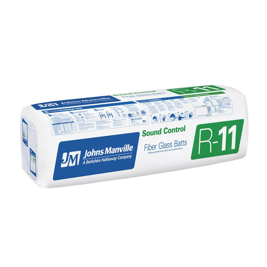 Johns Manville R13 156.29-sq ft Faced Fiberglass Batt Insulation with Sound Barrier (11-in W x 93-in L)
