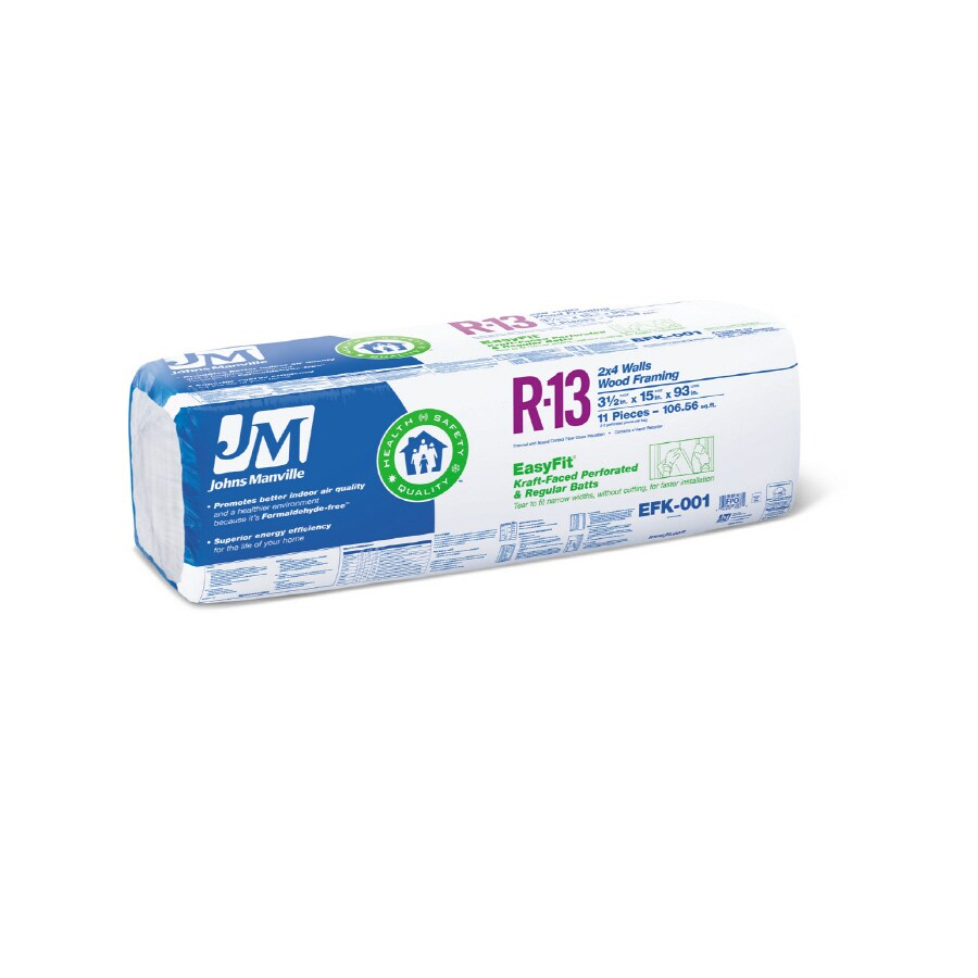 Shop johns manville easyfit r 13 fiberglass batt for Insulation batt sizes