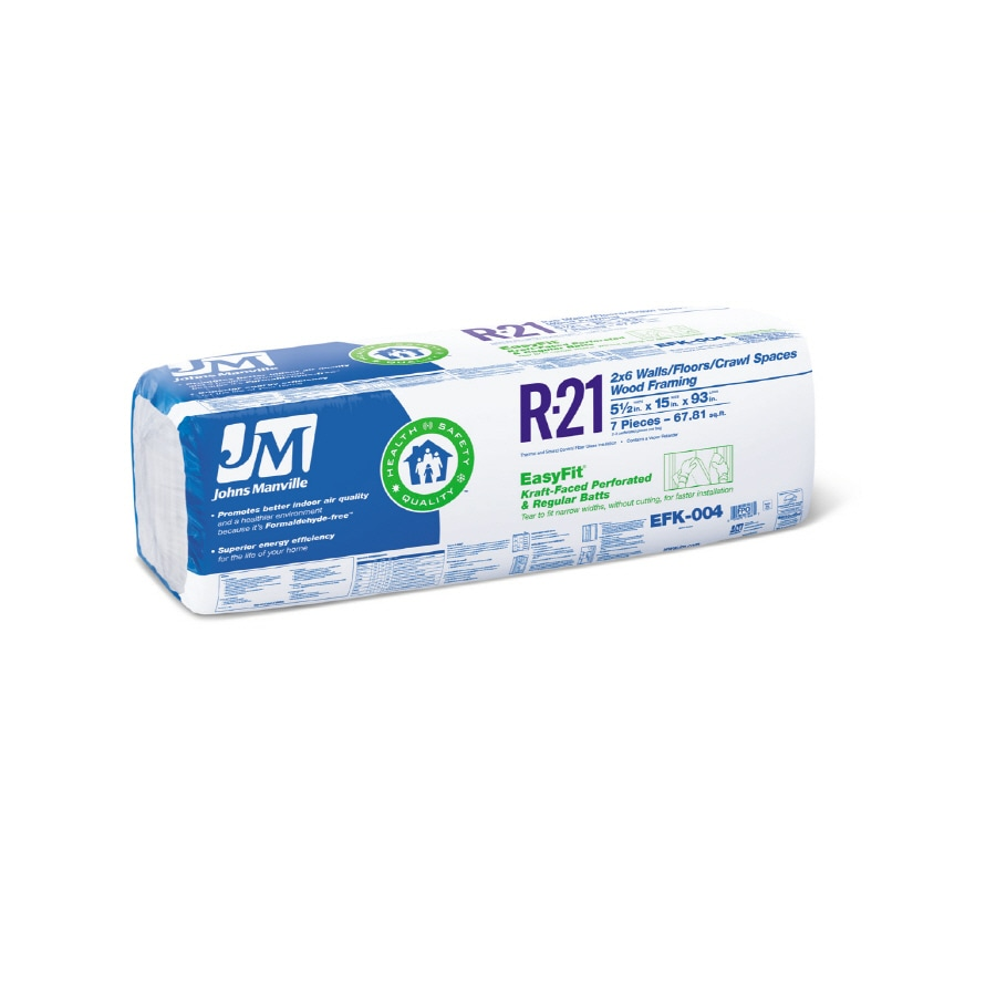 Johns Manville EasyFit R21 67.81-sq ft Faced Fiberglass Batt Insulation with Sound Barrier (15-in W x 93-in L)
