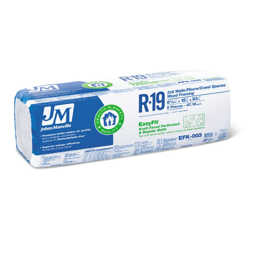 Johns Manville EasyFit R19 87.18-sq ft Faced Fiberglass Batt Insulation with Sound Barrier (15-in W x 93-in L)