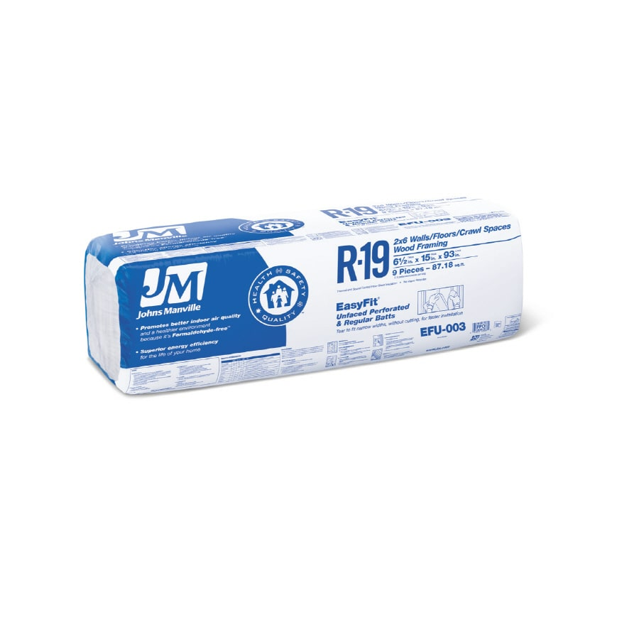 Johns Manville EasyFit R19 87.18-sq ft Unfaced Fiberglass Batt Insulation with Sound Barrier (15-in W x 93-in L)