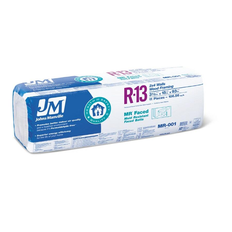 Johns Manville 11-Pack R-13 Fiberglass Insulation (7-ft 9-in L X 15-in W X 3-1/2-in D)