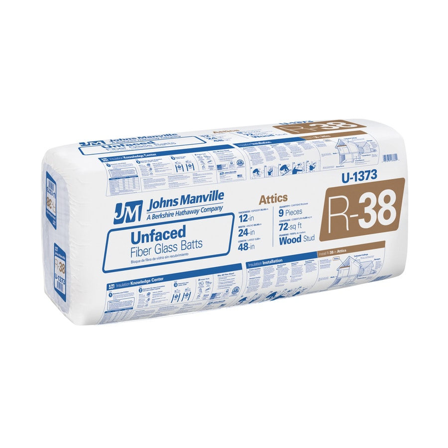 Shop johns manville r 38 72 sq ft unfaced fiberglass batt for Fiberglass sound insulation