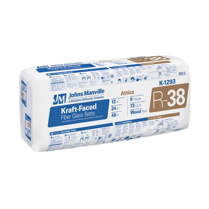 Johns Manville R 38 72 Sq Ft Faced Fiberglass Batt Insulation 24 In W X 48 In L In The Batt Insulation Department At Lowes Com