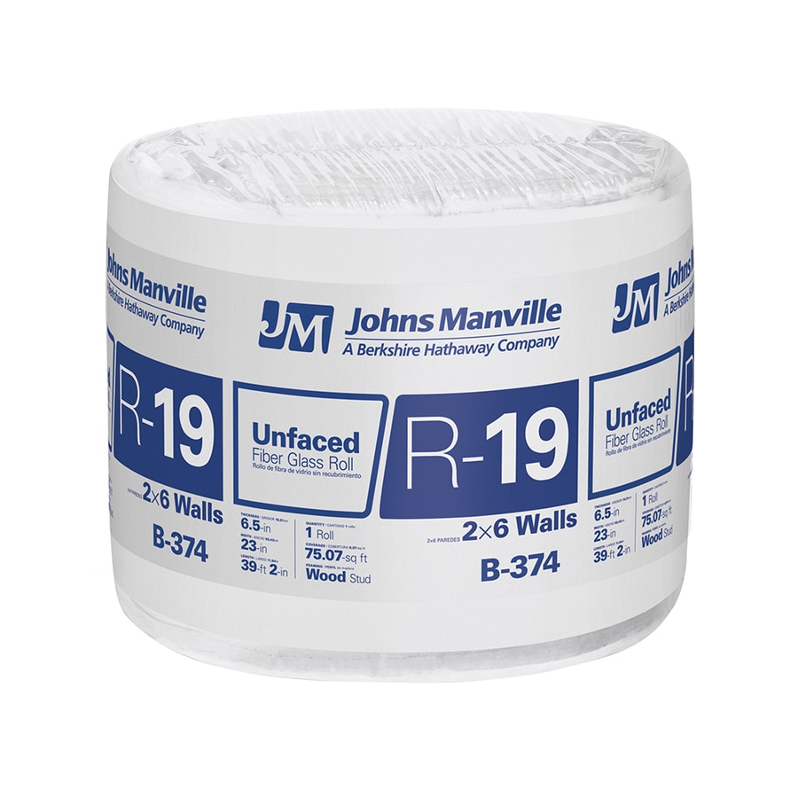 Johns Manville R 19 75.07-sq ft Unfaced Fiberglass Roll Insulation with Sound Barrier (23-in W x 39.16-ft L)