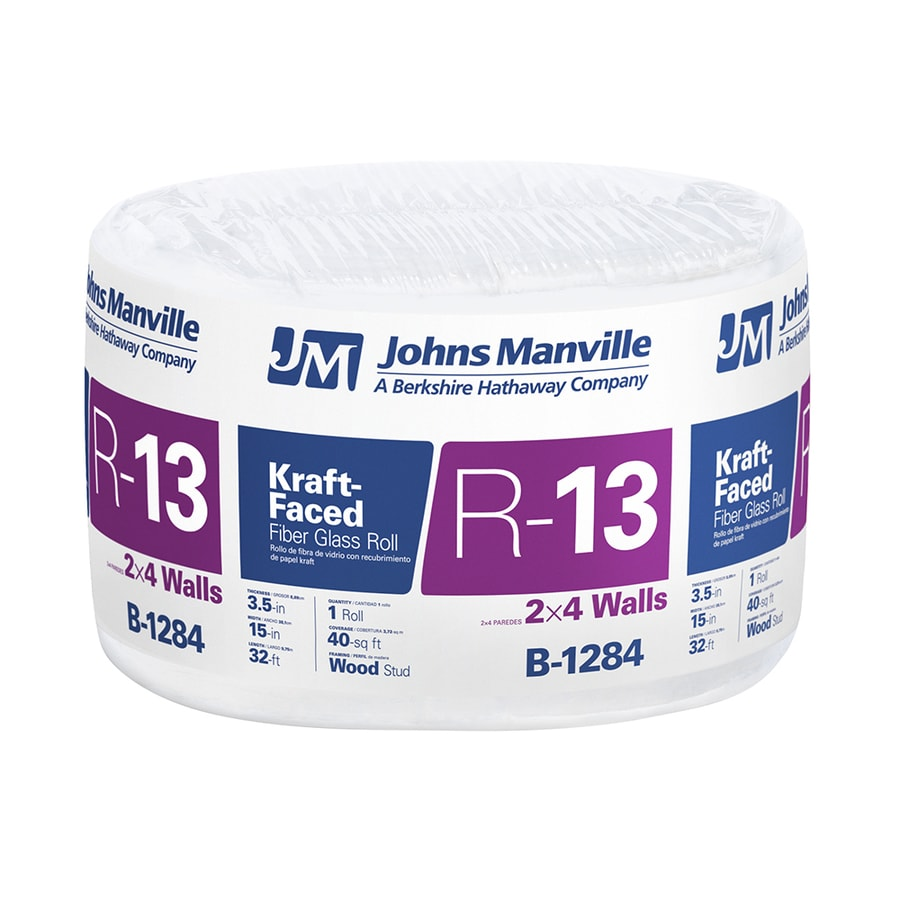 Johns Manville R 13 40-sq ft Single Faced Fiberglass Roll Insulation with Sound Barrier (15-in W x 32-ft L)