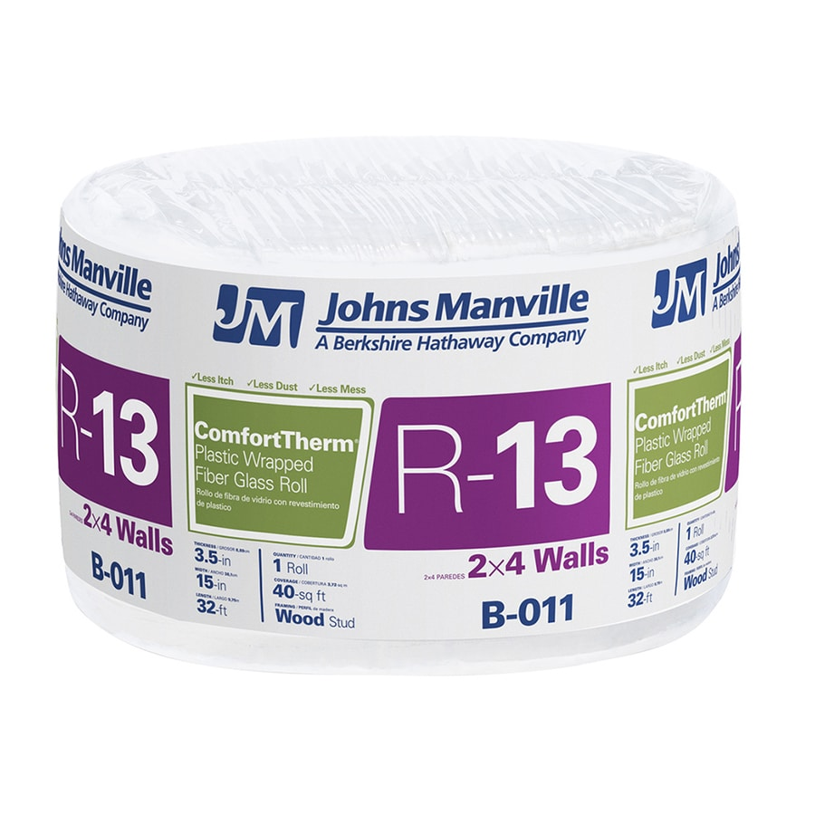 Johns Manville ComfortTherm R 13 40-sq ft Encapsulated Fiberglass Roll Insulation with Sound Barrier (15-in W x 32-ft L)