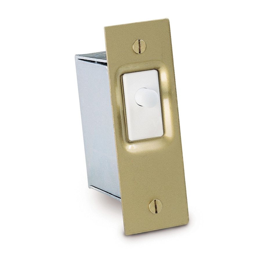 Gardner Bender 10-amp Single Pole White/Brass Push Indoor/Outdoor Door Light Switch