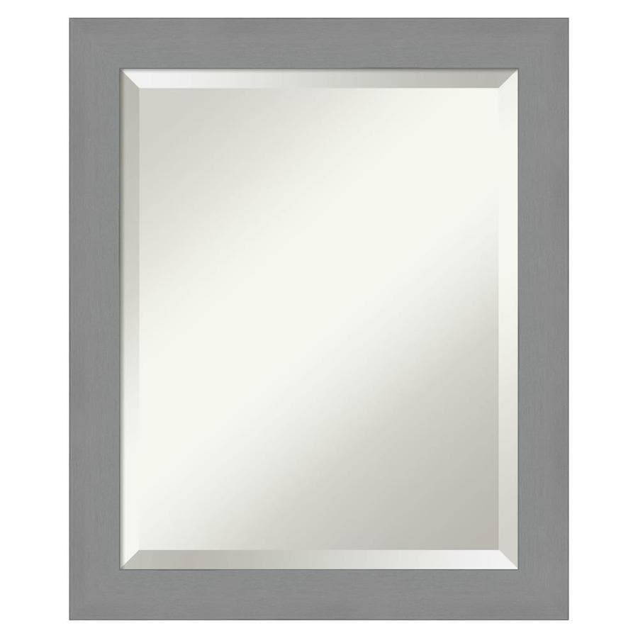 Amanti Art Brushed Nickel Frame Collection 19 5 In Brushed Silver Rectangular Bathroom Mirror In The Bathroom Mirrors Department At Lowes Com