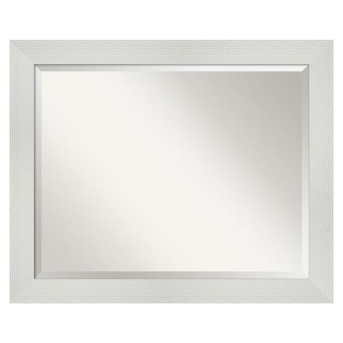 Amanti Art Mosaic White Frame Collection 32 25 In Glossy White Rectangular Bathroom Mirror In The Bathroom Mirrors Department At Lowes Com