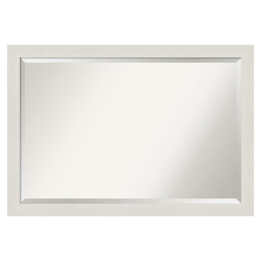Amanti Art Rustic Plank White Frame Collection 39 38 In Distressed Cream White Rectangular Bathroom Mirror In The Bathroom Mirrors Department At Lowes Com