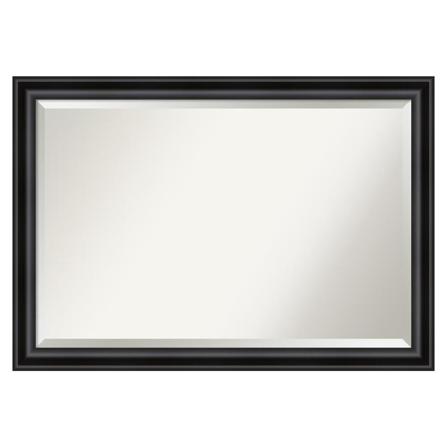 Amanti Art Grand Black Frame Collection 39 88 In Distressed Black Rectangular Bathroom Mirror In The Bathroom Mirrors Department At Lowes Com