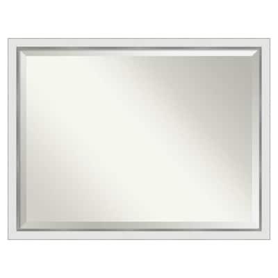 Amanti Art Eva White Silver Narrow Bathroom Vanity Wall