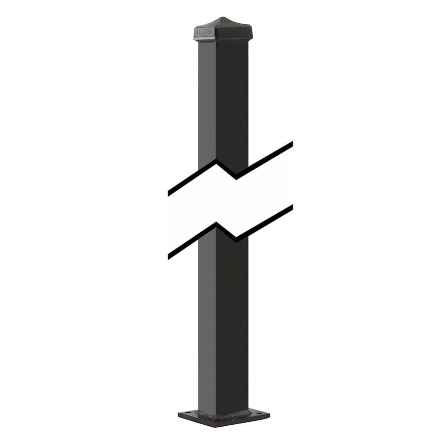 Gilpin (Common: 1-1/2-in x 1-1/2-in x 3-ft; Actual: 1.5-in x 1.5-in x 3.08-ft) Black Steel Decorative Fence Universal Post