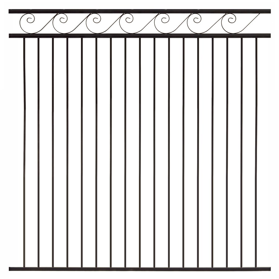 Gilpin (Common: 6-ft x 6-ft; Actual: 5.75-ft x 6-ft) Oasis Black Steel Decorative Fence Panel