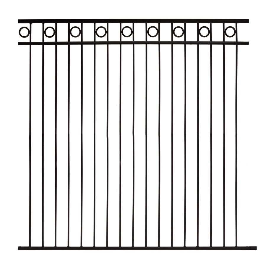 Gilpin (Common: 6-ft x 6-ft; Actual: 5.75-ft x 6-ft) Deco Black Steel Decorative Fence Panel
