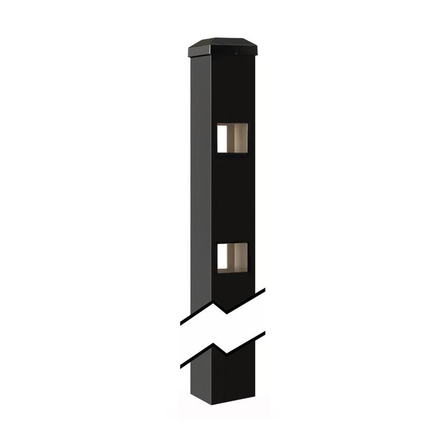 Gilpin Castlegate/Windsor Black Aluminum Decorative Metal Fence Line Post (Common: 2-in x 2-in x 5-ft; Actual: 2-in x 2-in x 7.33-ft)