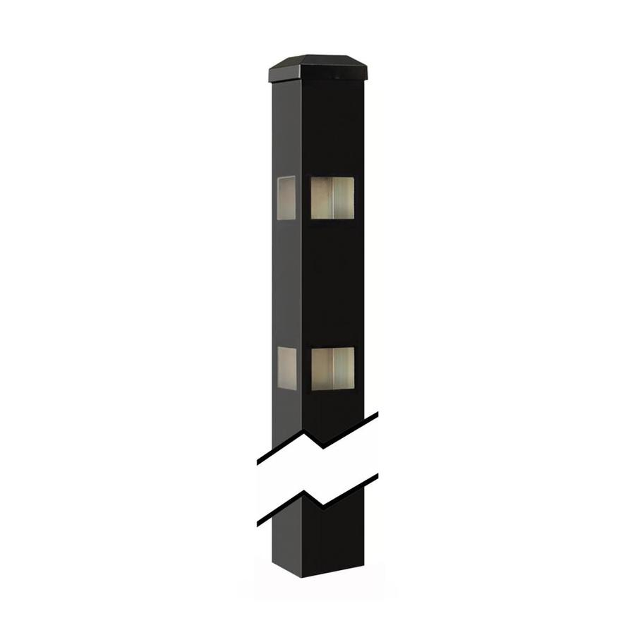 Gilpin (Common: 2-in x 2-in x 5-ft; Actual: 2-in x 2-in x 7.33-ft) Castlegate Windsor Black Aluminum Decorative Fence Corner Post