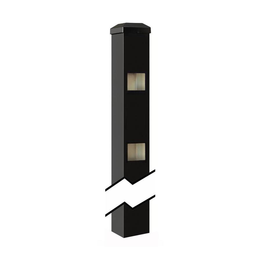 Gilpin (Common: 2-in x 2-in x 6-ft; Actual: 2-in x 2-in x 8.83-ft) Castlegate/Windsor Black Aluminum Decorative Fence End Post